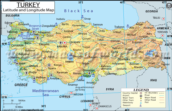 Turkey Latitude and Longitude Map