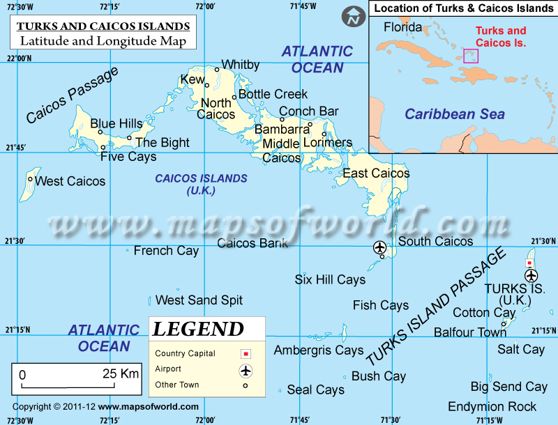 Turks Caicos Islands Latitude and Longitude Map