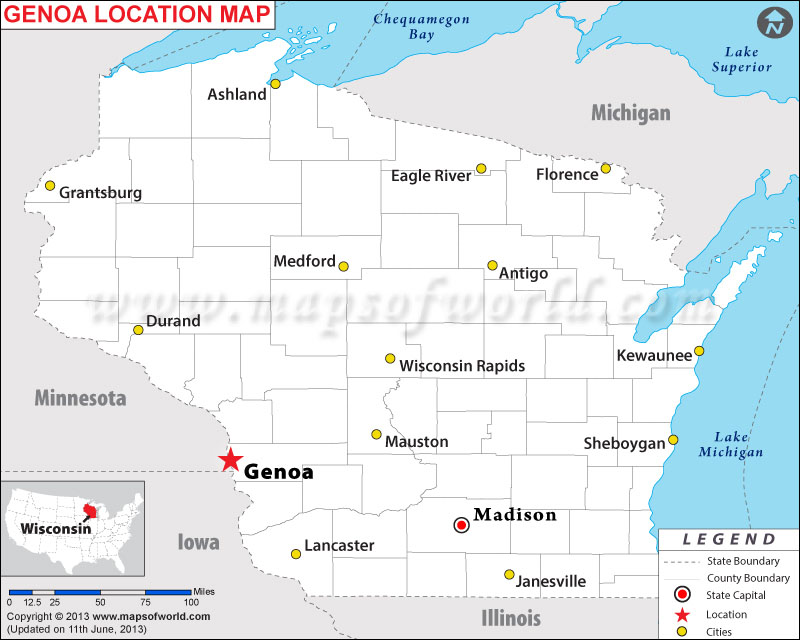 Where Is Genoa Located In Wisconsin USA - Where is wisconsin