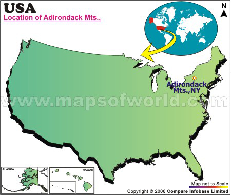 Where Is Adirondack Mountains Located In New York USA - Us map with mountains