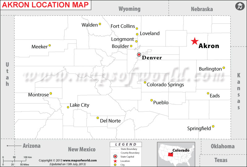 Akron Colorado Map.Where Is Akron Located In Colorado Usa