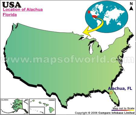 Location Map of Alachua, USA