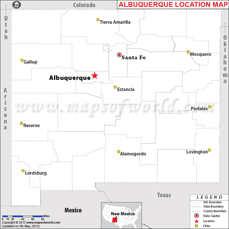 Where Is Albuquerque Located In New Mexico USA - New mexico map with cities