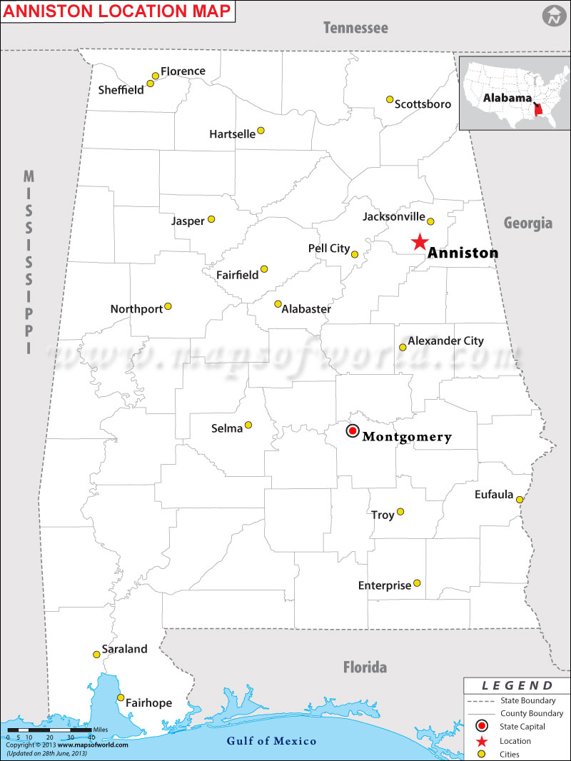 Where is Anniston located in Alabama