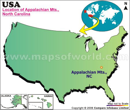 Where Is Appalachian Mountains Located In North Carolina USA - Us map with appalachian mountains