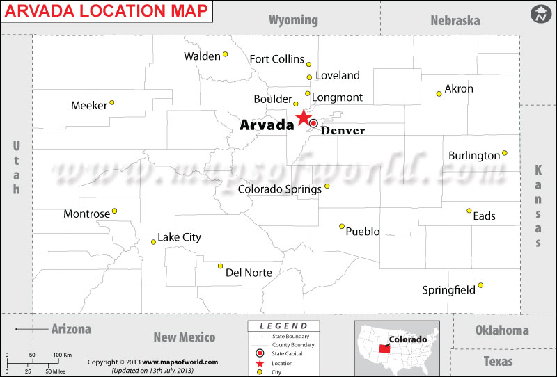 Where is Arvada Located in Colorado USA