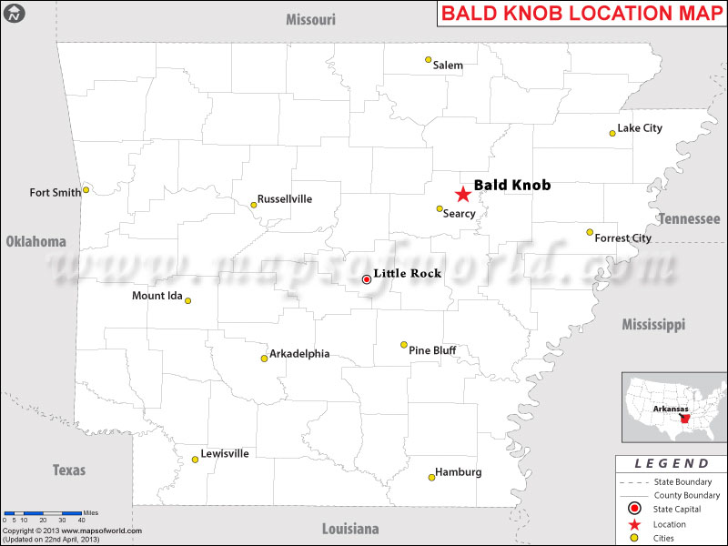 Location Map of Bald Knob, USA