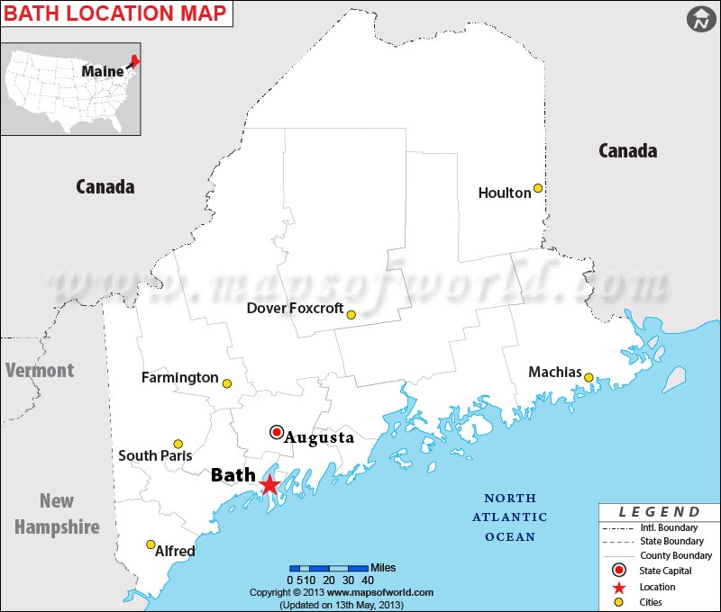 Is Bath Maine - Maine in usa map