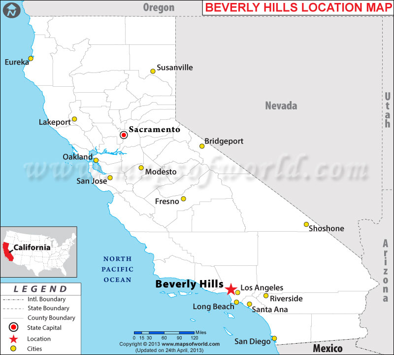 Location Map Of Beverley Hills, USA