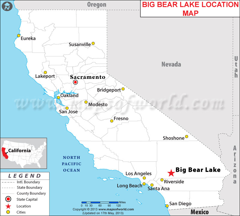 big bear lake california map california map