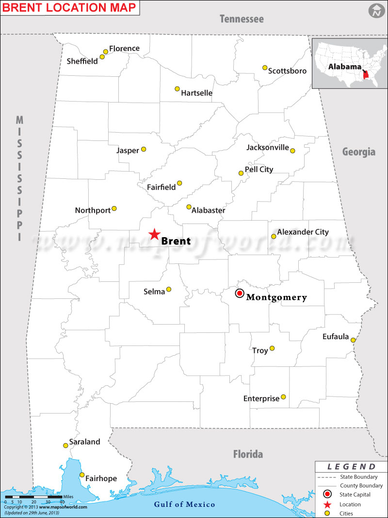 Where is Brent located in Alabama