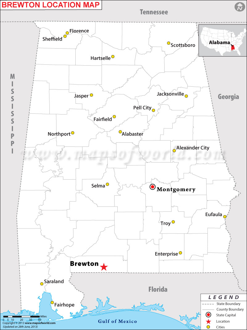 Where is Brewton located in Alabama