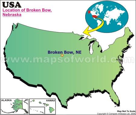Location Map of Broken Bow, Nebr., USA