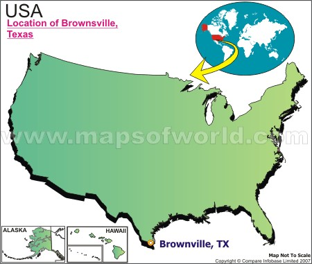 Location Map of Brownsville, Tex., USA