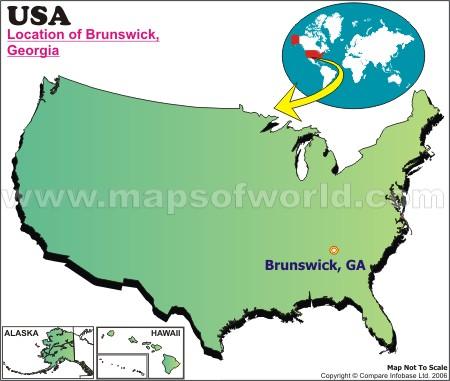 Location Map of Brunswick, Ga., USA