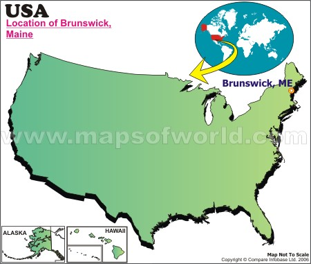Location Map of Brunswick, Maine, USA