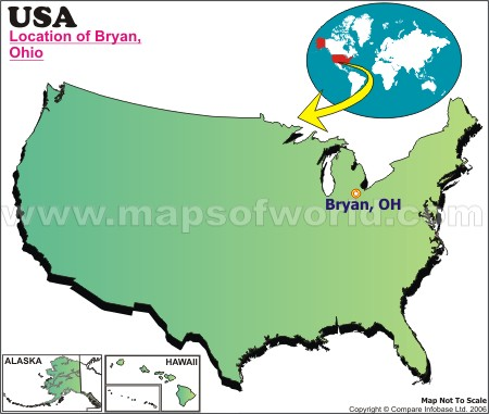 Location Map of Bryan, Ohio, USA
