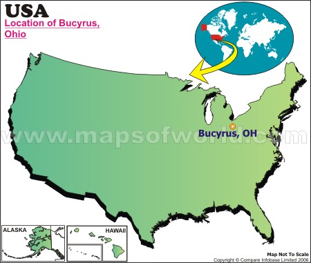 Location Map of Bucyrus, USA