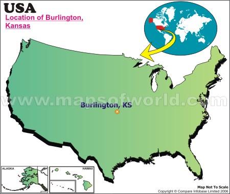 Location Map of Burlington, Kans., USA