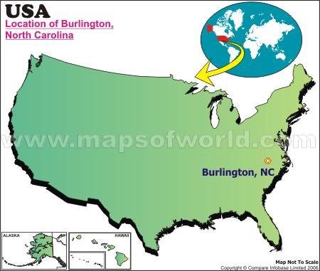 Location Map of Burlington, N.C., USA