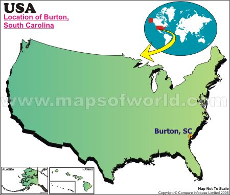 Location Map of Burton, S.C., USA