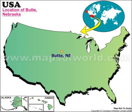 Location Map of Butte, Nebr., USA