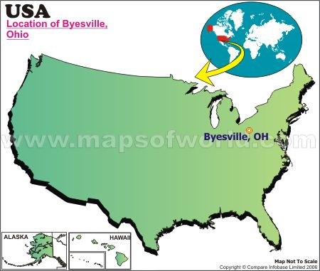 Location Map of Byesville, USA