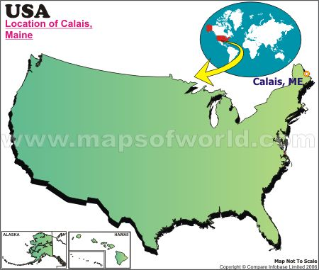 Location Map of Calais, USA
