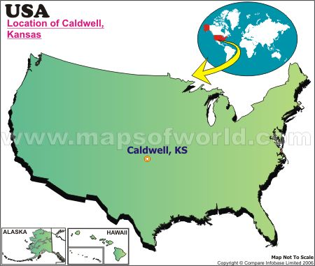 Location Map of Caldwell, Kans., USA