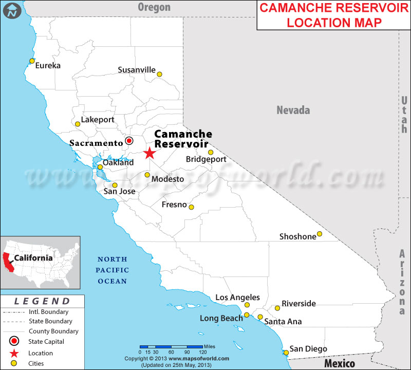 Where is Camanche Reservoir located in California