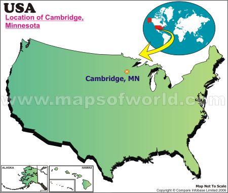 Location Map of Cambridge, Minn., USA