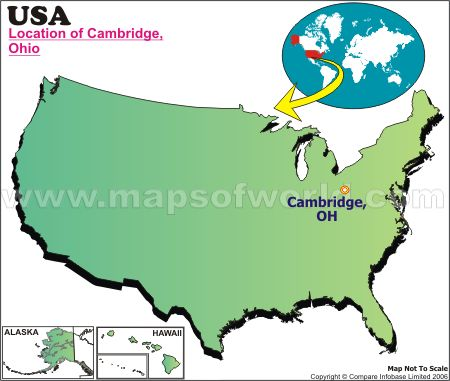 Location Map of Cambridge, Ohio, USA