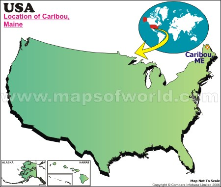 Location Map of Caribou, USA