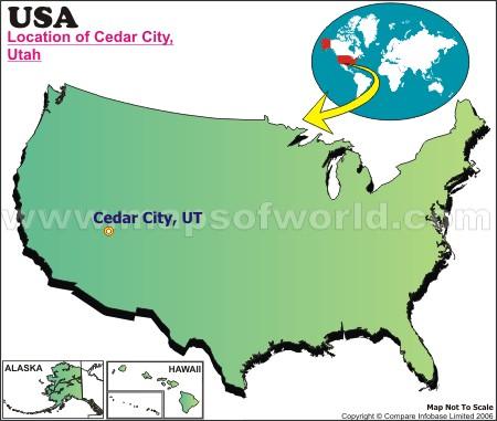 Location Map of Cedar City, USA
