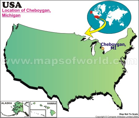 Location Map of Cheboygan, USA