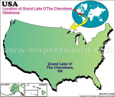 Location Map of Cherokees, Grand Lake The, USA