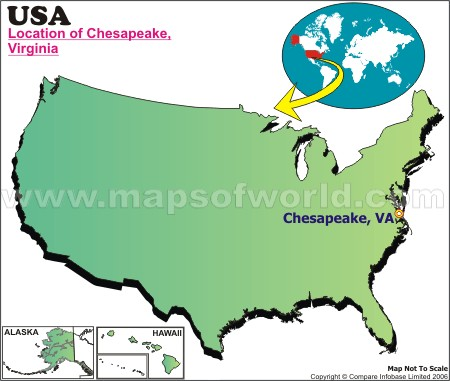 Location Map of Chesapeake, USA