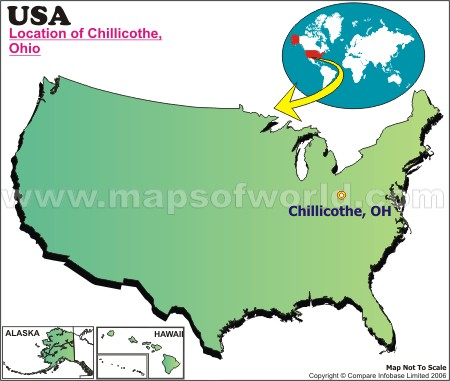 Location Map of Chillicothe, Ohio, USA