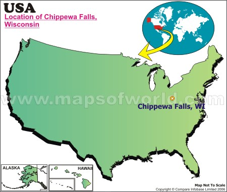 Location Map of Chippewa Falls, USA