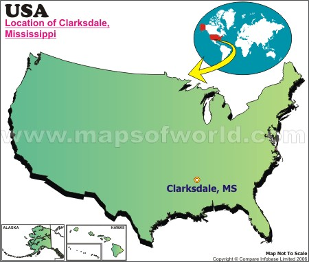 Location Map of Clarksdale, USA