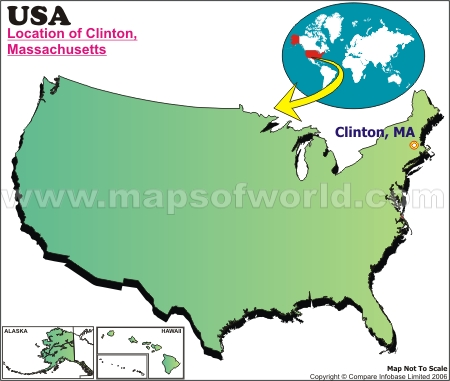 Location Map of Clinton, Mass., USA