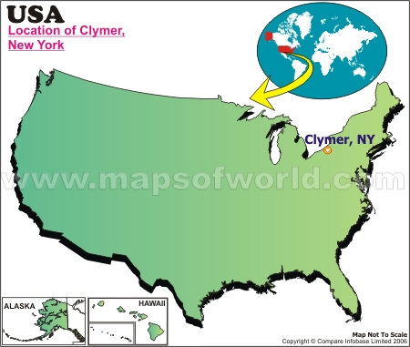 Location Map of Clymer, N.Y., USA