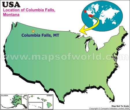 Location Map of Columbia Falls, USA