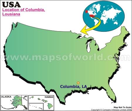 Location Map of Columbia, La., USA
