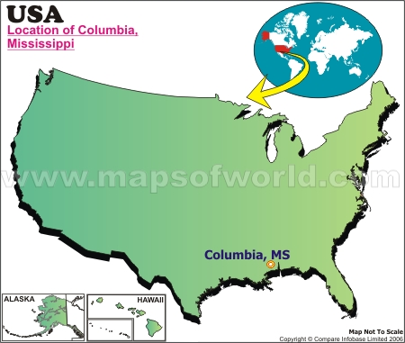 Location Map of Columbia, Miss., USA