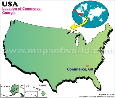 Location Map of Commerce, Ga., USA