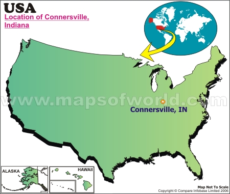 Location Map of Connersville, USA