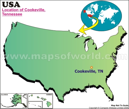 Location Map of Cookeville, USA