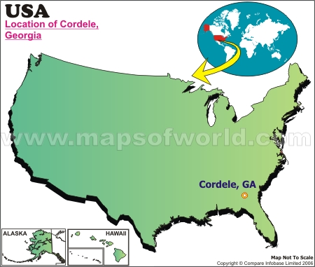 Location Map of Cordele, USA