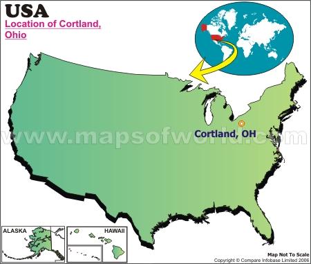 Location Map of Cortland, Ohio., USA